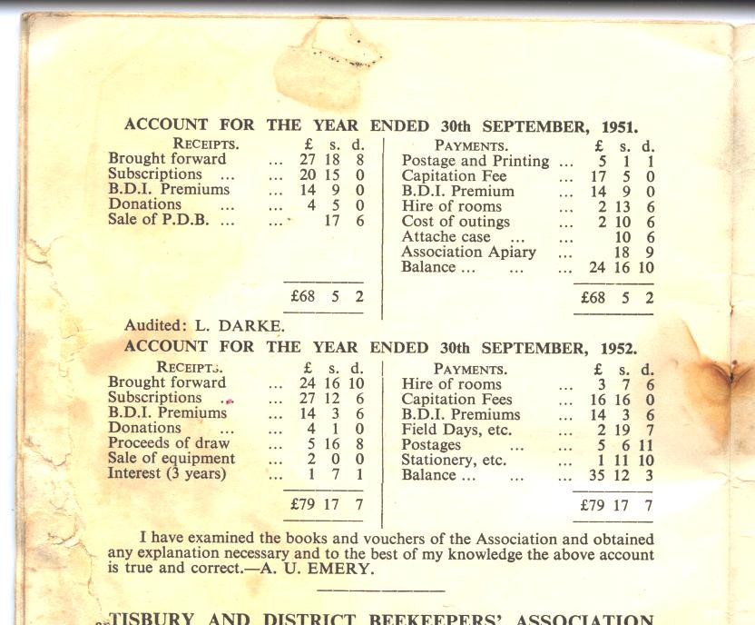 End of year accounts from the 1950s