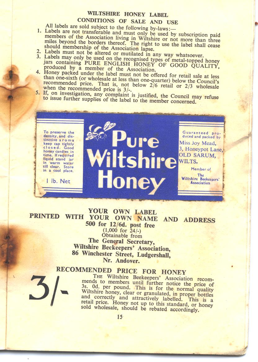 Wiltshire Honey label 1952